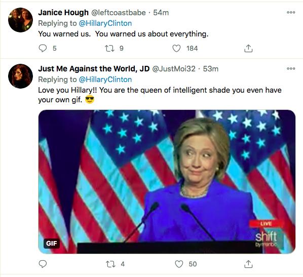 Screen-Shot-2021-01-08-at-9.54.30-PM Hillary Clinton Master-Trolls Trump Over His Twitter Ban Donald Trump Featured Hillary Clinton Politics Top Stories Twitter