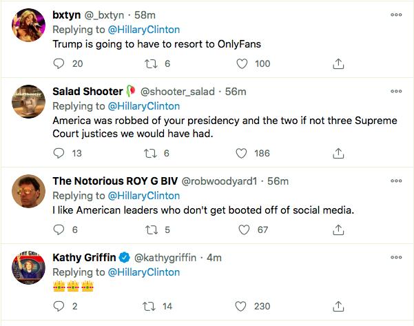 Screen-Shot-2021-01-08-at-9.55.27-PM Hillary Clinton Master-Trolls Trump Over His Twitter Ban Donald Trump Featured Hillary Clinton Politics Top Stories Twitter