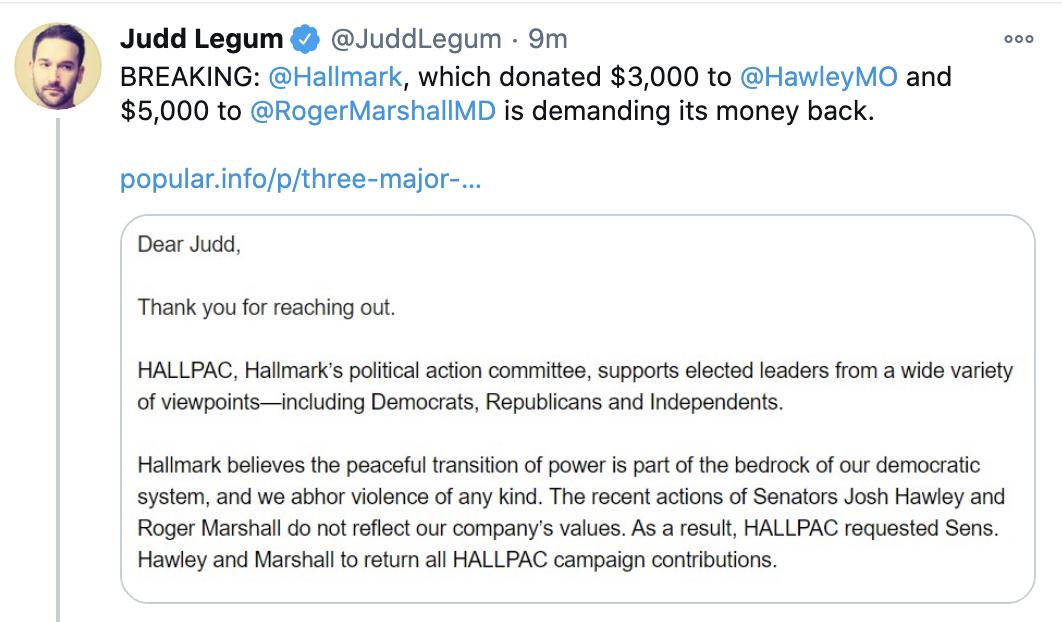Screen-Shot-2021-01-11-at-11.33.29-AM Hallmark Demands Josh Hawley Return Thousands In Contributions Donald Trump Featured Politics Top Stories