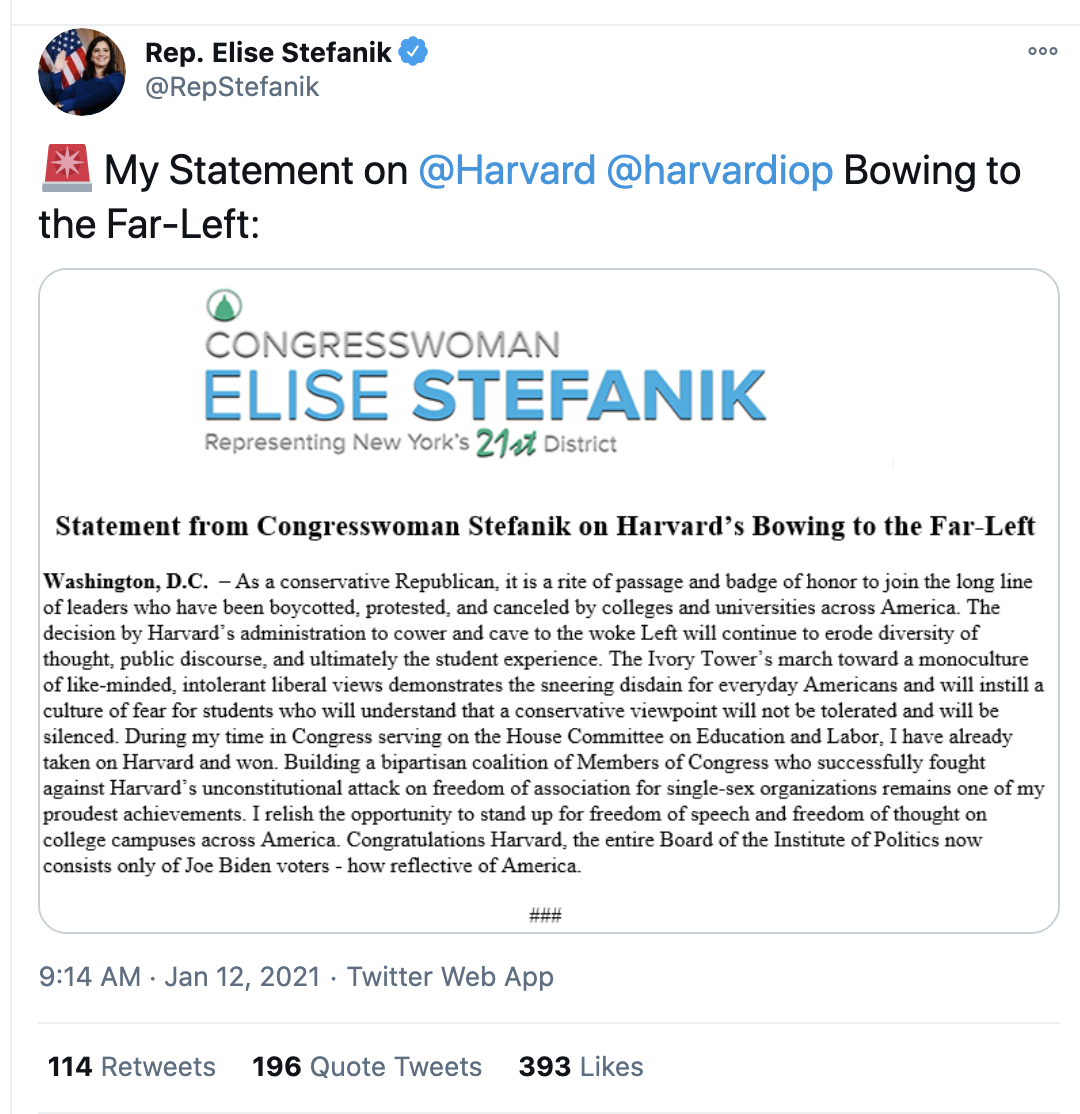 Screen-Shot-2021-01-12-at-10.07.12-AM Harvard Kicks Elise Stefanik Off Advisory Board Over Insurrection Crime Domestic Policy Featured Politics Top Stories