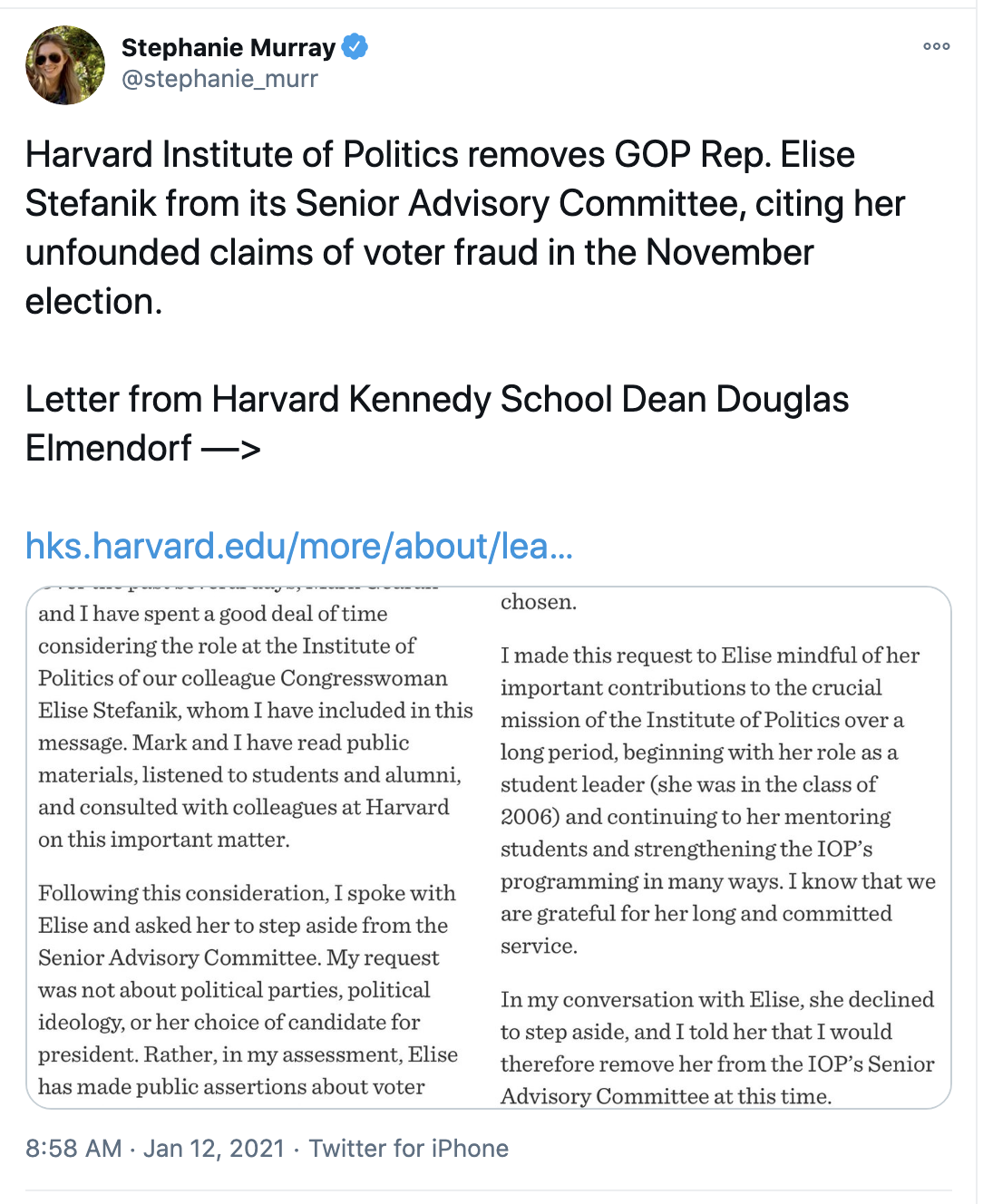 Screen-Shot-2021-01-12-at-9.49.39-AM Harvard Kicks Elise Stefanik Off Advisory Board Over Insurrection Crime Domestic Policy Featured Politics Top Stories
