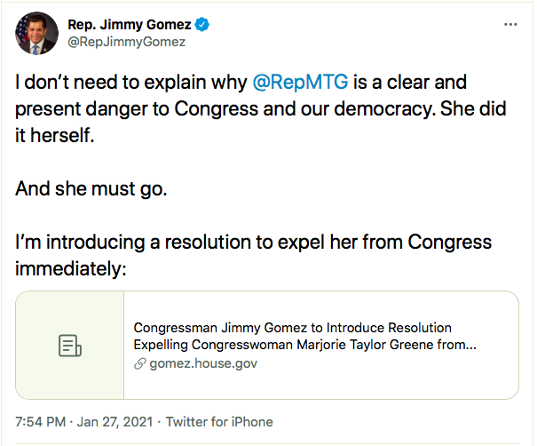 Screen-Shot-2021-01-27-at-8.36.27-PM Resolution To Expel QAnon Crazy Marjorie Taylor Greene Announced Alt-Right Featured Politics Top Stories