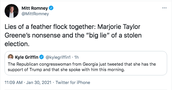 Screen-Shot-2021-01-30-at-12.05.48-PM Romney Trashes Trump &  Marjorie Taylor-Greene With Weekend Tweet Conspiracy Theory Donald Trump Featured Politics Top Stories