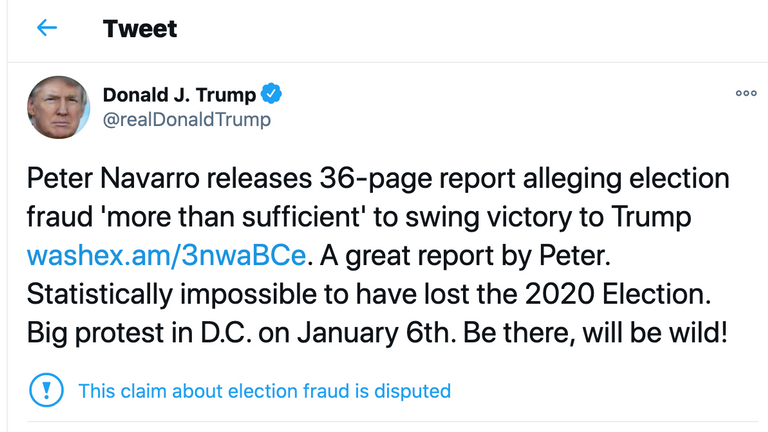 skynews-trump-tweet-protest_5230429 Officials, Aides Speak Out About Trump's Response On Jan. 6, Failure To Act Crime Donald Trump Featured Politics Top Stories Videos