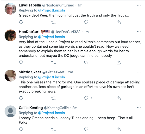 Screen-Shot-2021-02-03-at-9.44.50-PM 'The Lincoln Project' Piles On Marjorie Taylor Greene With Video Take-Down Conspiracy Theory Donald Trump Featured Politics Top Stories Twitter