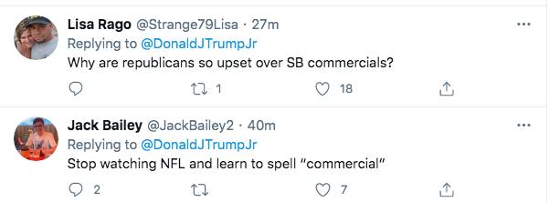 Screen-Shot-2021-02-07-at-7.22.34-PM Trump Jr. Has Childish Hissy-Fit Over The Super Bowl Donald Trump Politics Racism Top Stories Twitter