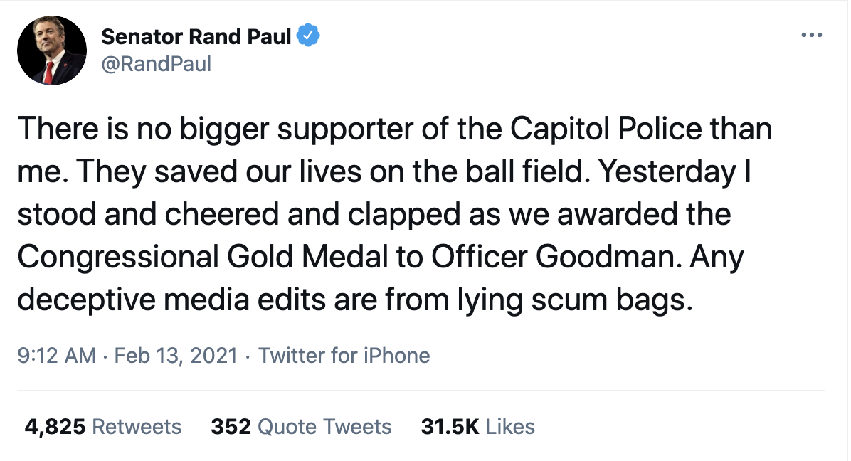 Screen-Shot-2021-02-15-at-9.32.22-AM Rand Paul Caught On Video Disrespecting Heroic Capitol Police Featured Military National Security Politics Top Stories