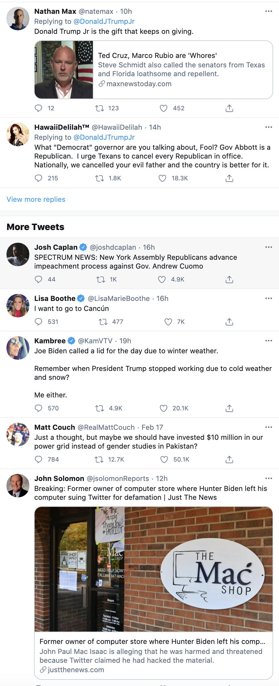 Screen-Shot-2021-02-19-at-8.35.01-AM Trump Jr Attempts To Defend 'Cancun Cruz' But Humiliates Himself Instead Corruption Crime Donald Trump Featured Politics Top Stories