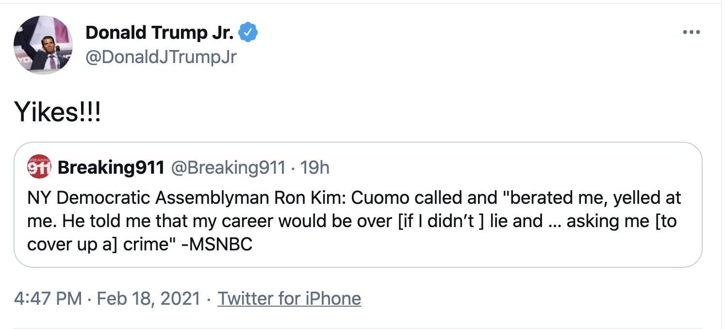 Screen-Shot-2021-02-19-at-8.47.18-AM Trump Jr Attempts To Defend 'Cancun Cruz' But Humiliates Himself Instead Corruption Crime Donald Trump Featured Politics Top Stories
