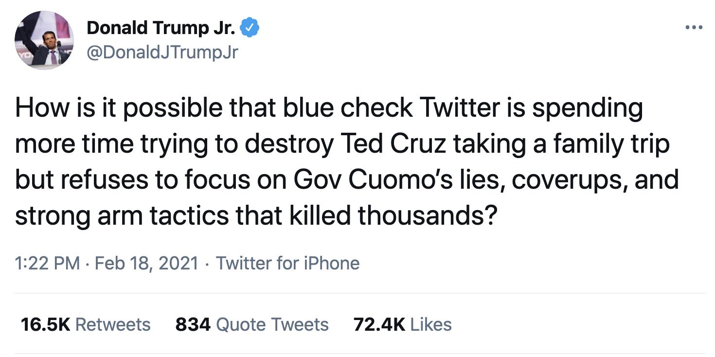 Screen-Shot-2021-02-19-at-8.50.01-AM Trump Jr Attempts To Defend 'Cancun Cruz' But Humiliates Himself Instead Corruption Crime Donald Trump Featured Politics Top Stories