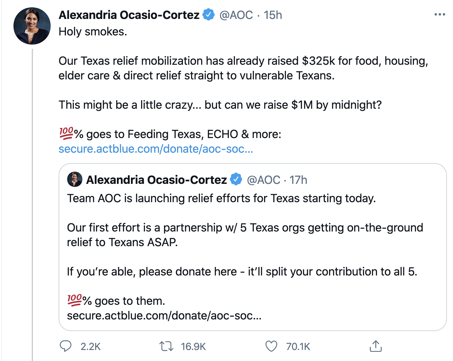 Screen-Shot-2021-02-19-at-9.55.14-AM Democrats Raised $1,000,000 In 3 Hours As Ted Cruz Fled To Mexico Environment Featured Natural Disaster Politics Top Stories