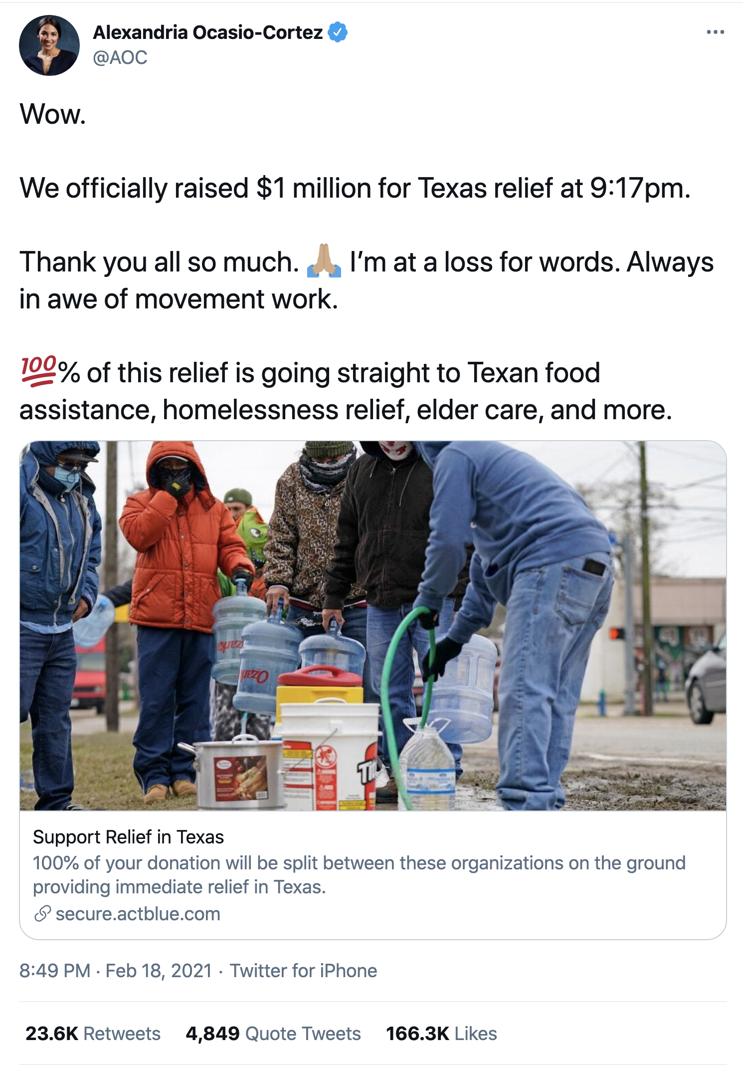 Screen-Shot-2021-02-19-at-9.56.25-AM Democrats Raised $1,000,000 In 3 Hours As Ted Cruz Fled To Mexico Environment Featured Natural Disaster Politics Top Stories