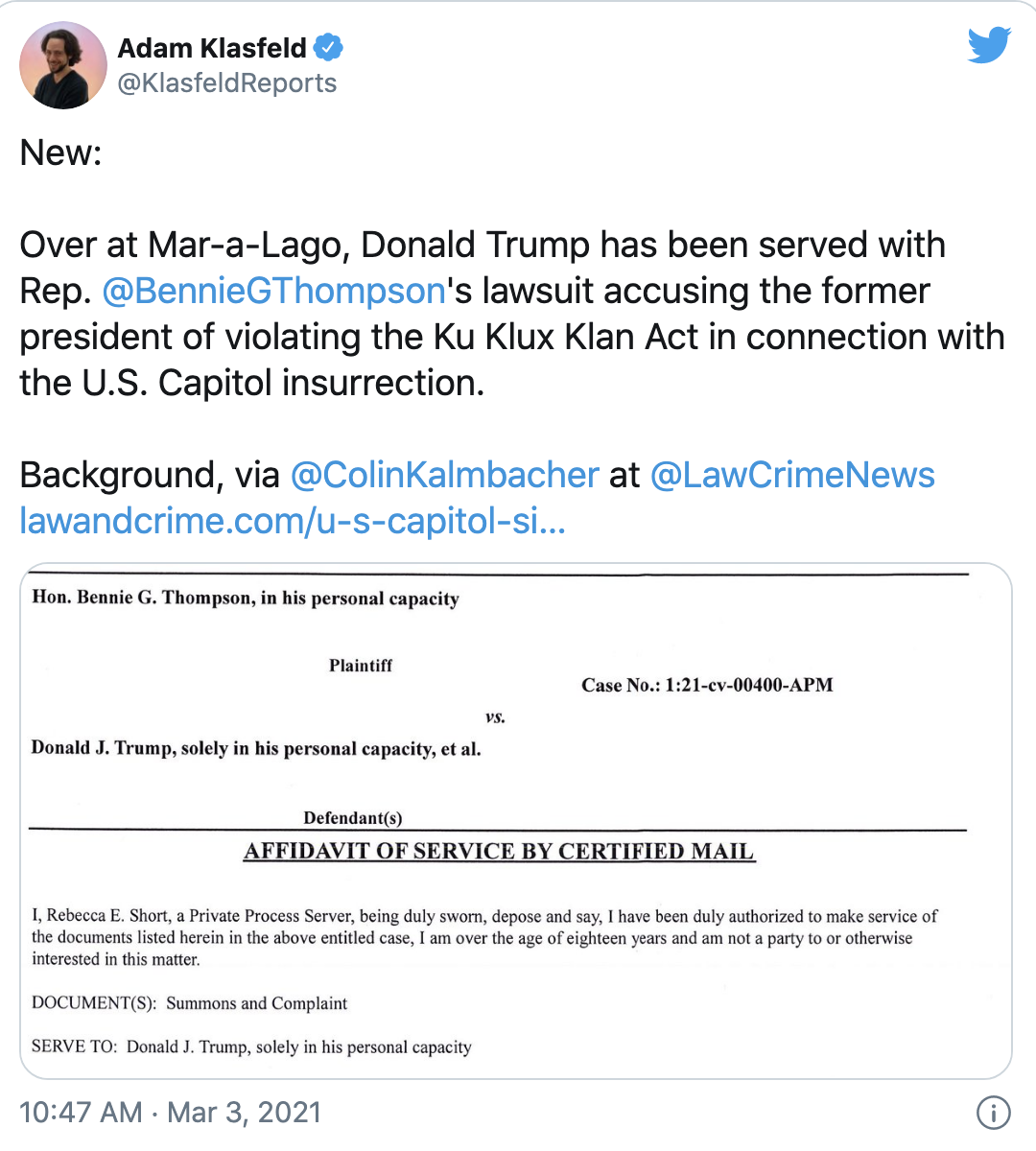 Screen-Shot-2021-03-03-at-10.58.55-AM Federal Lawsuit Filed Against Trump For 'Conspiring To Incite An Assembled Crowd' Corruption Crime Donald Trump Featured Politics Top Stories