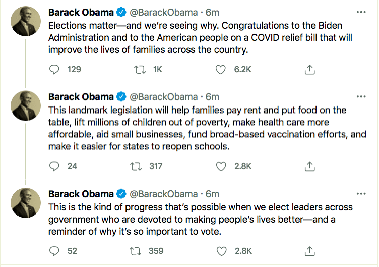 Screen-Shot-2021-03-06-at-2.56.21-PM Obama Celebrates The COVID Relief Bill With Message Of Hope Coronavirus Economy Featured Politics Top Stories Twitter