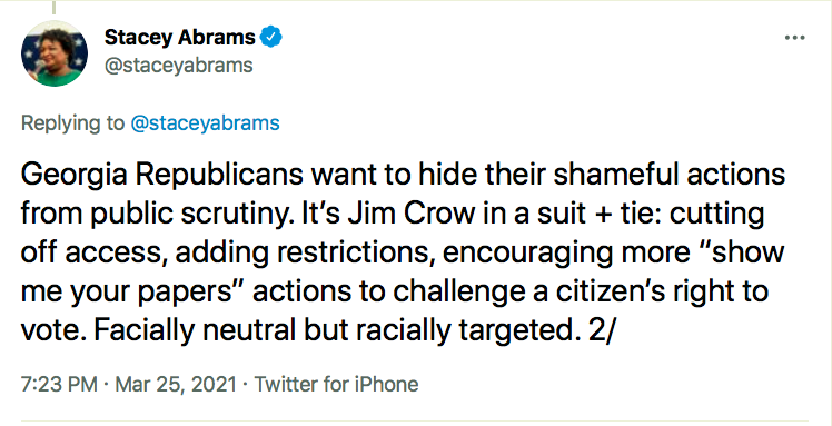Screen-Shot-2021-03-25-at-8.31.48-PM Stacey Abrams Puts GOP On Notice Over Voter Suppression Bill Civil Rights Donald Trump Featured Politics Racism Top Stories Twitter