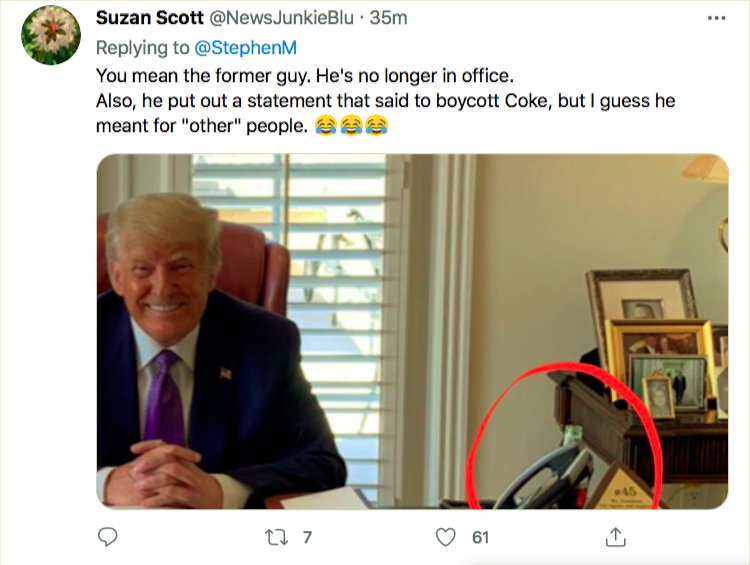 Screen-Shot-2021-04-05-at-6.52.32-PM Trump Caught On Camera With A Coke After Demanding Boycott Activism Donald Trump Featured Politics Top Stories Twitter