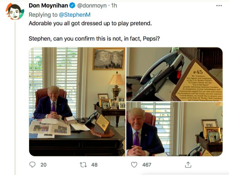 Screen-Shot-2021-04-05-at-6.52.55-PM Trump Caught On Camera With A Coke After Demanding Boycott Activism Donald Trump Featured Politics Top Stories Twitter