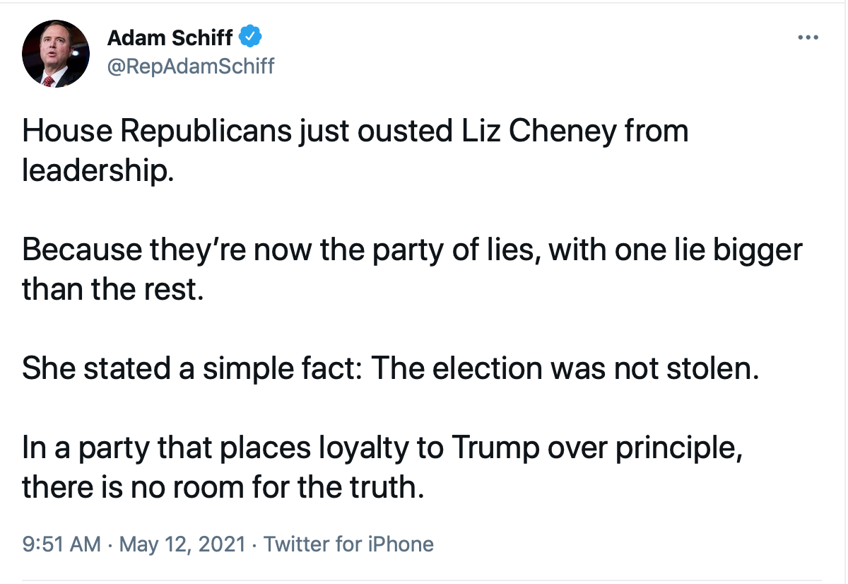 Screen-Shot-2021-05-12-at-10.50.54-AM Liz Cheney Taunts The GOP Moments After Being Ousted From Leadership Donald Trump Featured Politics Top Stories Videos