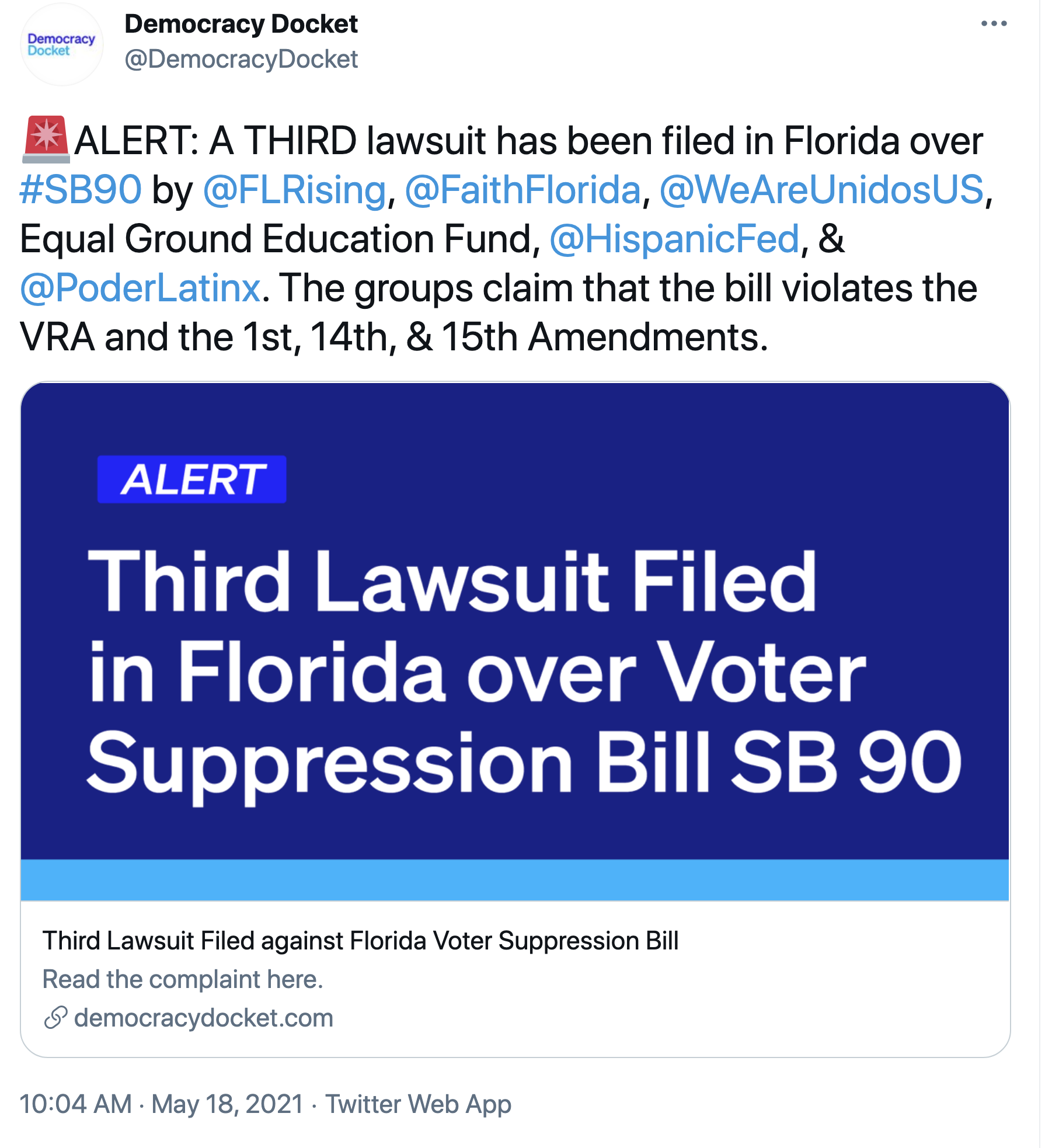 Screen-Shot-2021-05-18-at-10.16.45-AM Ron DeSantis Hit By Major Lawsuit To Kill Voter Suppression Bill Activism Corruption Crime Politics Top Stories