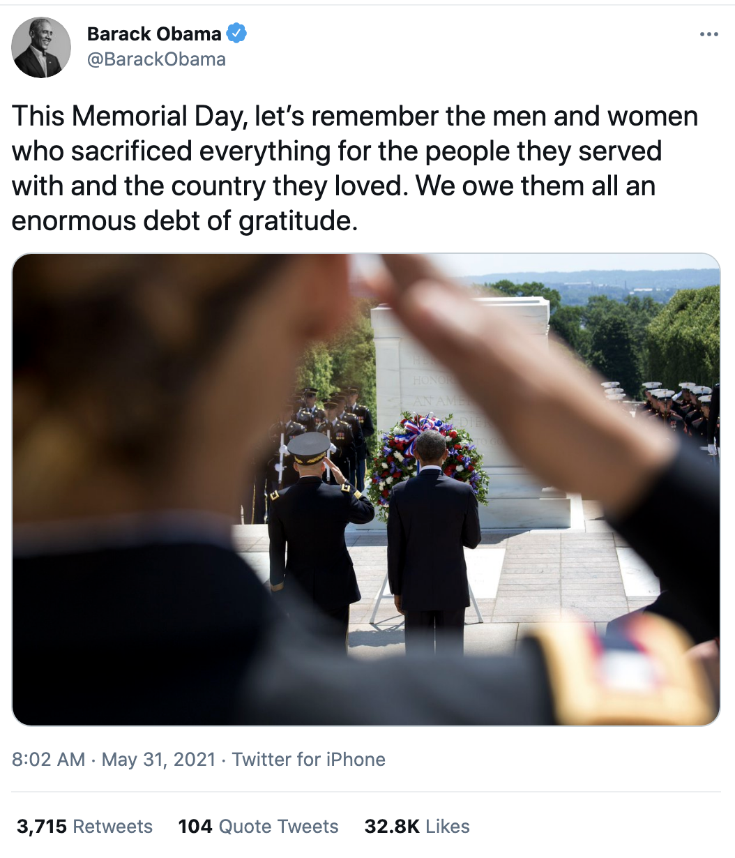 Screen-Shot-2021-05-31-at-9.41.38-AM Obama Honors Memorial Day Like The Leader Trump Could Never Be Featured Military National Security Politics Top Stories