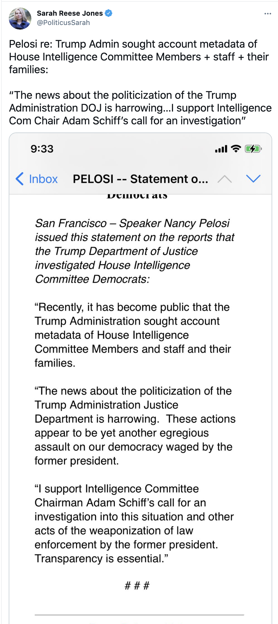 Screen-Shot-2021-06-11-at-9.15.03-AM Pelosi Calls For Urgent Investigation Of Trump/Barr Spying Scandal Corruption Donald Trump Featured Media Top Stories