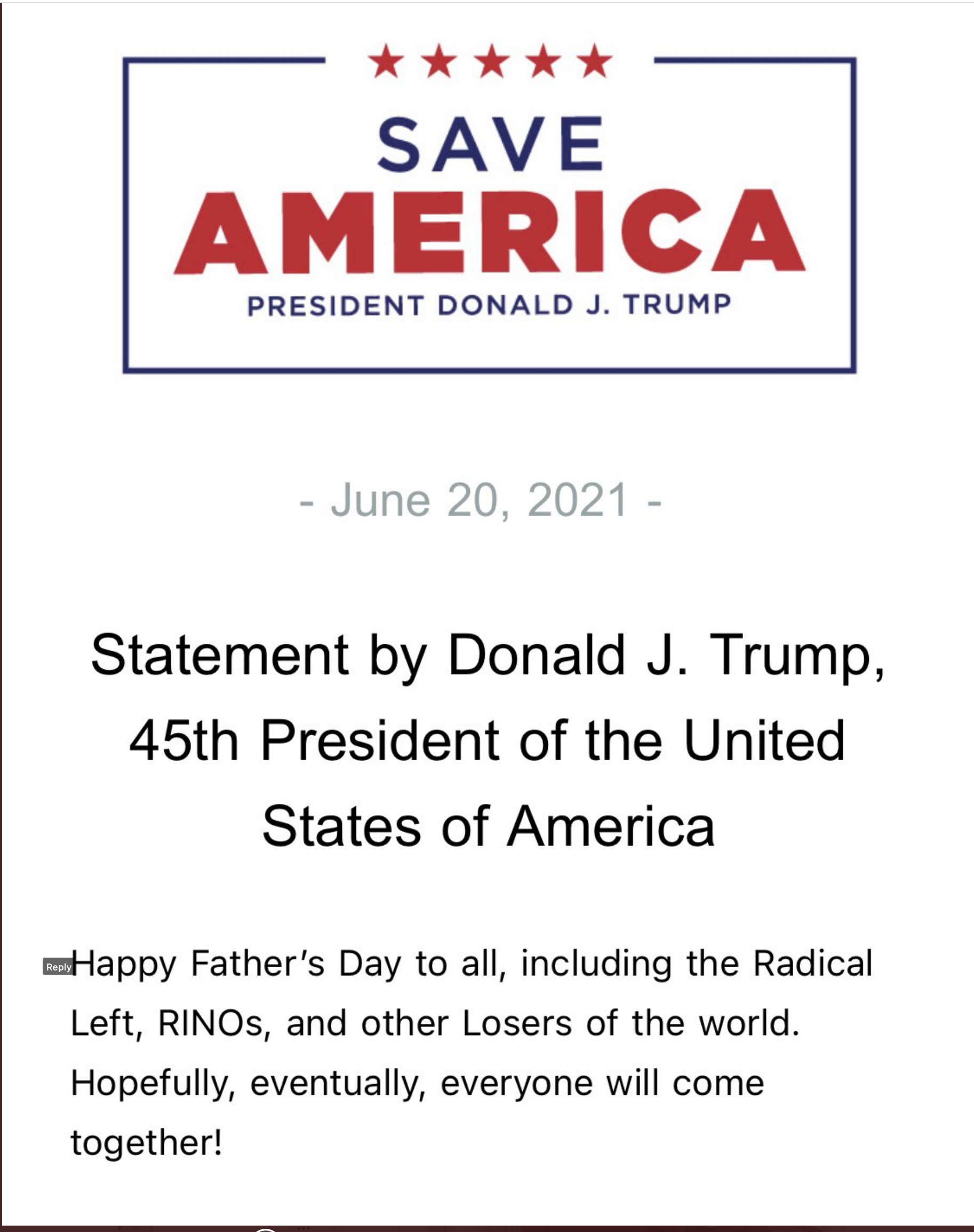 Screen-Shot-2021-06-20-at-1.40.50-PM Trump Goes On Father's Day Rant On 'Radical Left, RINOs, Other Losers' Corruption Donald Trump Featured Top Stories