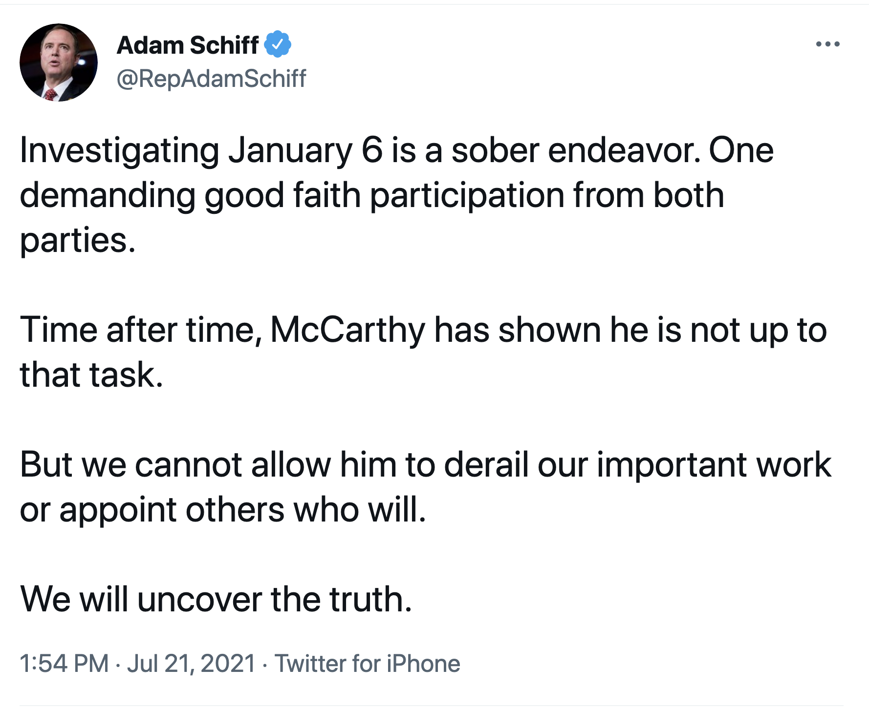 Screen-Shot-2021-07-21-at-2.00.05-PM Schiff Puts Kevin McCarthy & GOP On Notice Over Jan 6 Probe Corruption Featured National Security Politics Top Stories