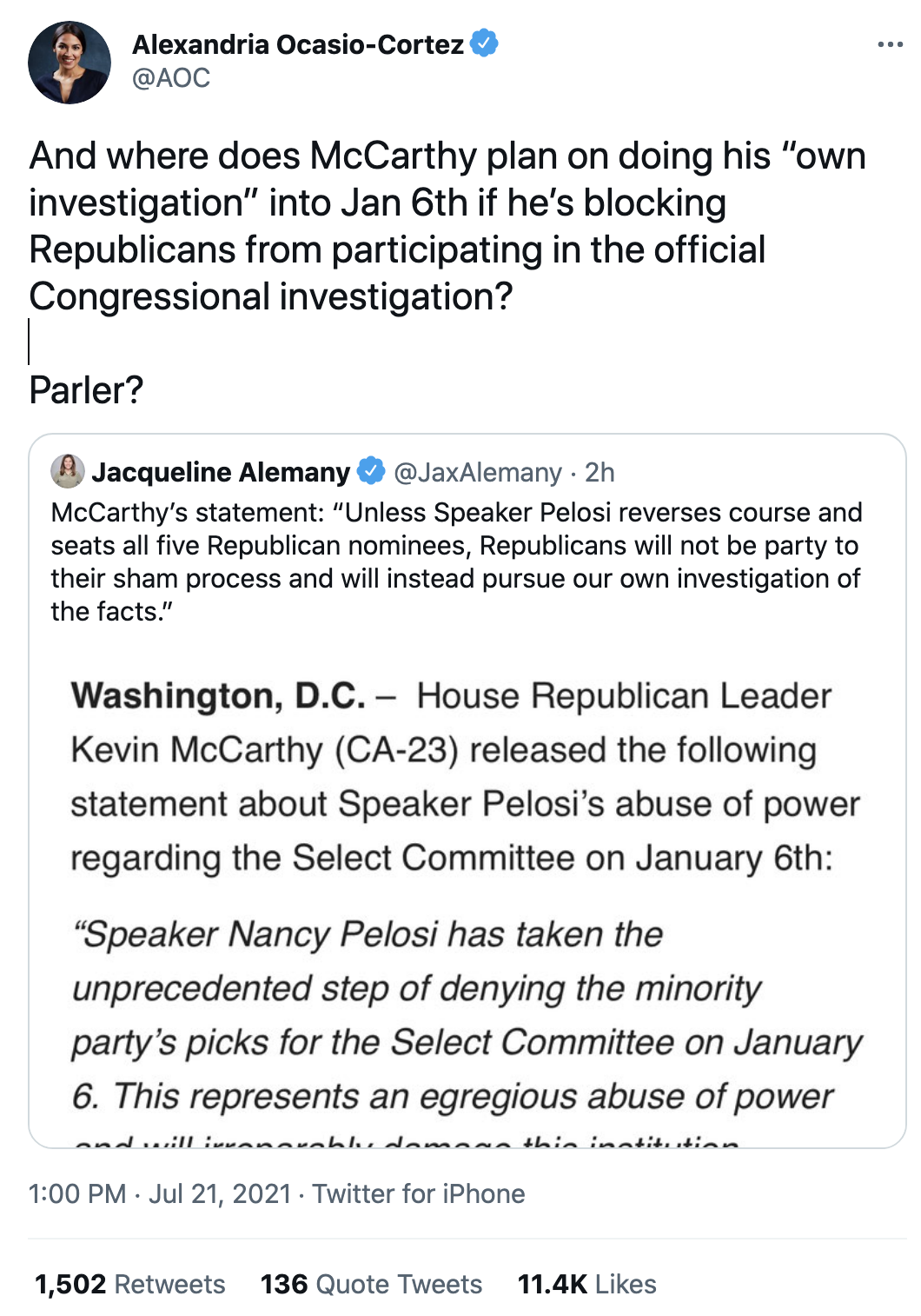 Screen-Shot-2021-07-21-at-2.48.06-PM Ocasio-Cortez Clowns On Kevin McCarthy's Investigation Threat Corruption Featured National Security Politics Top Stories