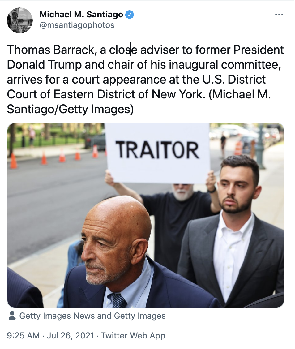 Screen-Shot-2021-07-26-at-10.55.22-AM Crowd Hits Trump Goon With Chants Of 'Traitor' At Court Appearance Corruption Crime Featured Politics Top Stories