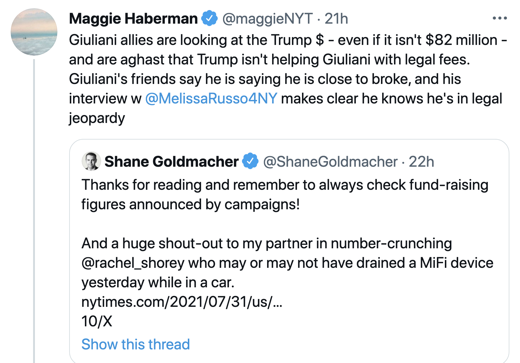 Screen-Shot-2021-08-02-at-8.32.09-AM 'Close To Broke' Rudy Giuliani Gets Cold Shoulder From Trump Family Crime Donald Trump Featured Politics Top Stories