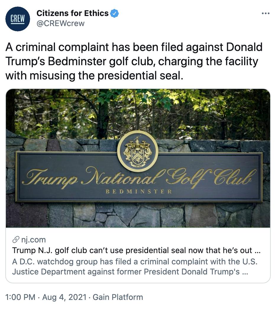 Screen-Shot-2021-08-04-at-2.53.21-PM Criminal Complaint Filed Against Donald Trump's NJ Golf Course Crime Featured Politics Top Stories