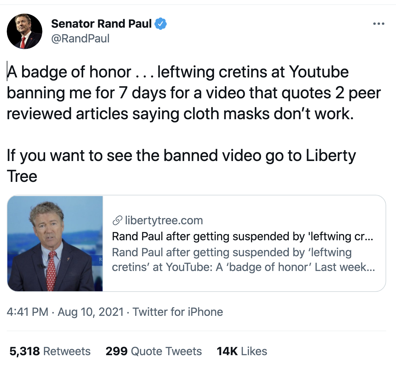 Screen-Shot-2021-08-11-at-8.14.35-AM Rand Paul Gets Suspended From 'YouTube' For Being A Degenerate Corruption Crime Featured Politics Top Stories