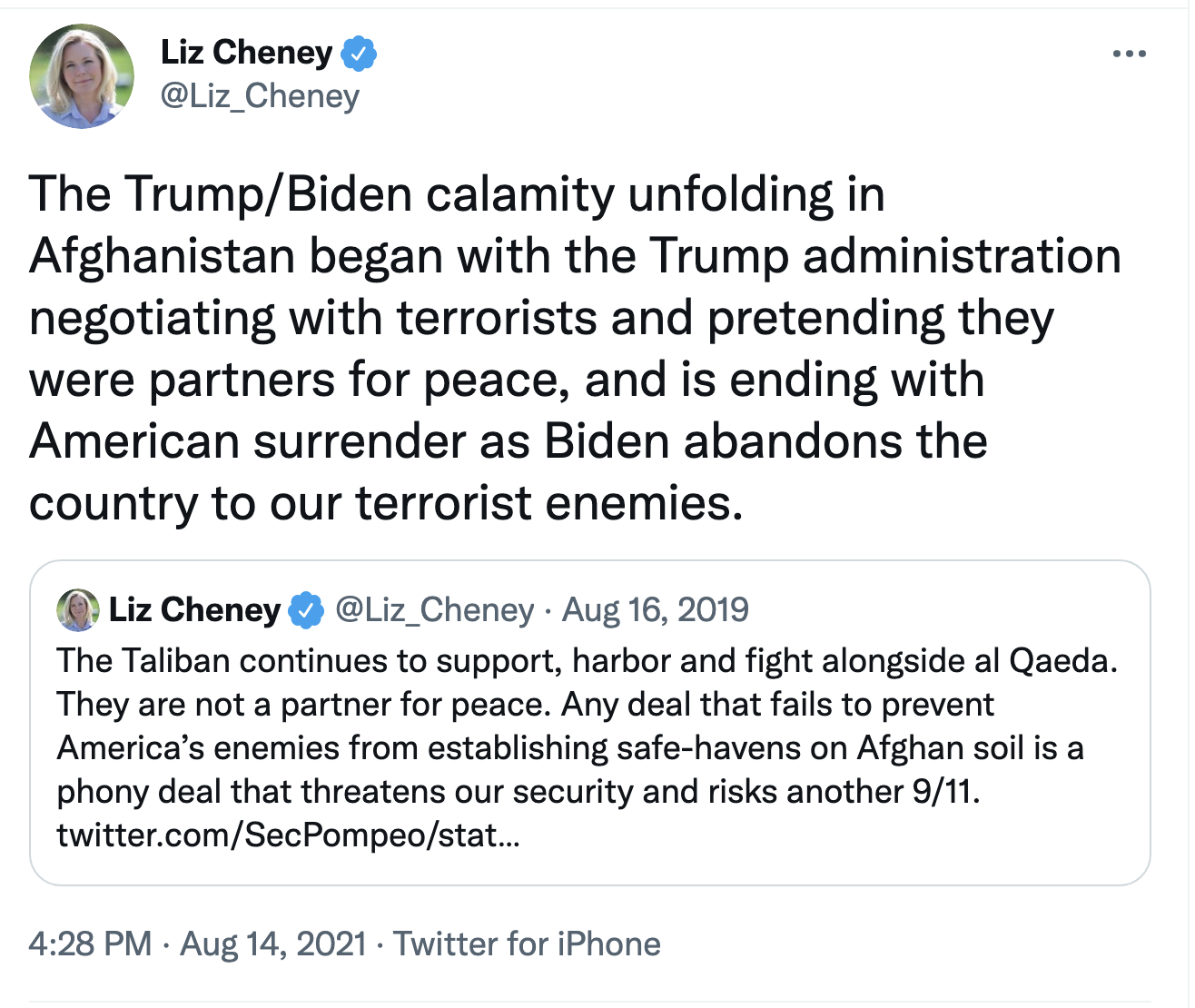 Screen-Shot-2021-08-15-at-9.15.34-AM Liz Cheney Publicly Targets Trump For Failing Afghanistan Corruption Donald Trump Featured Politics Top Stories