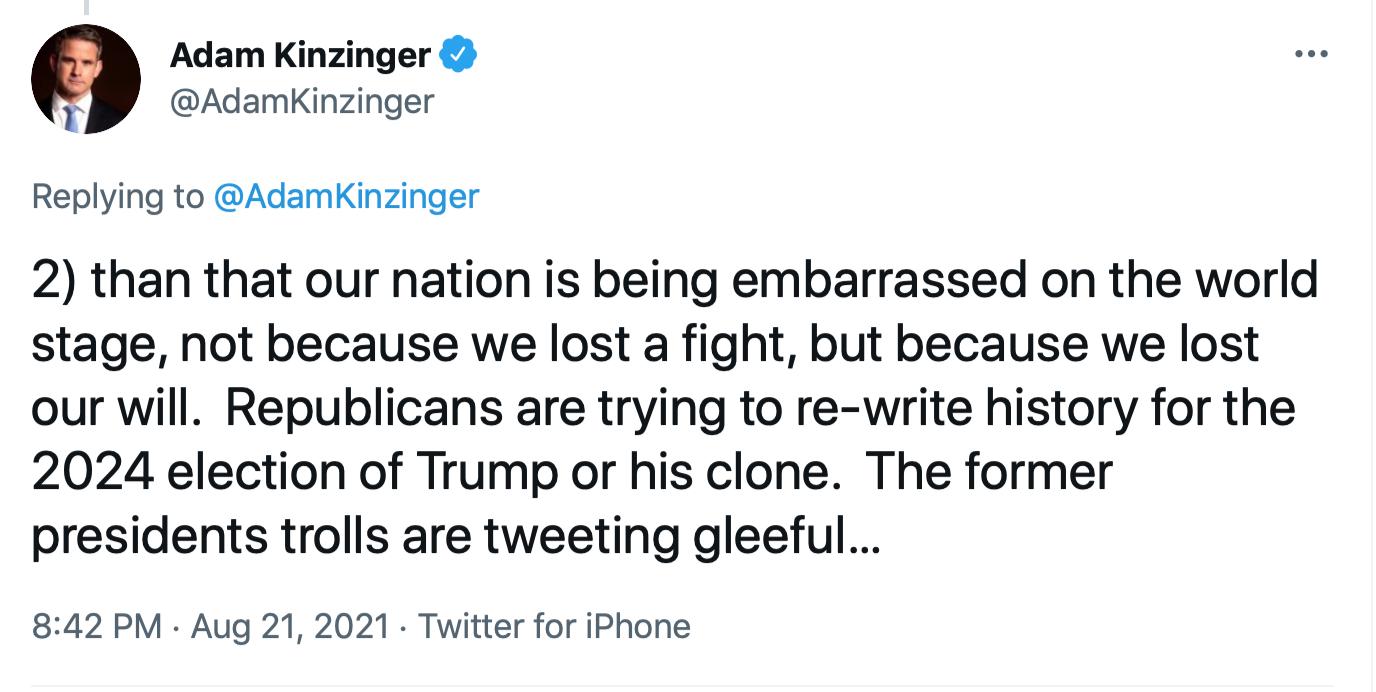 Screen-Shot-2021-08-22-at-10.22.07-AM Kinzinger Clobbers GOP Colleagues With Afghanistan Fact-Check Donald Trump Featured Joe Biden Politics Top Stories