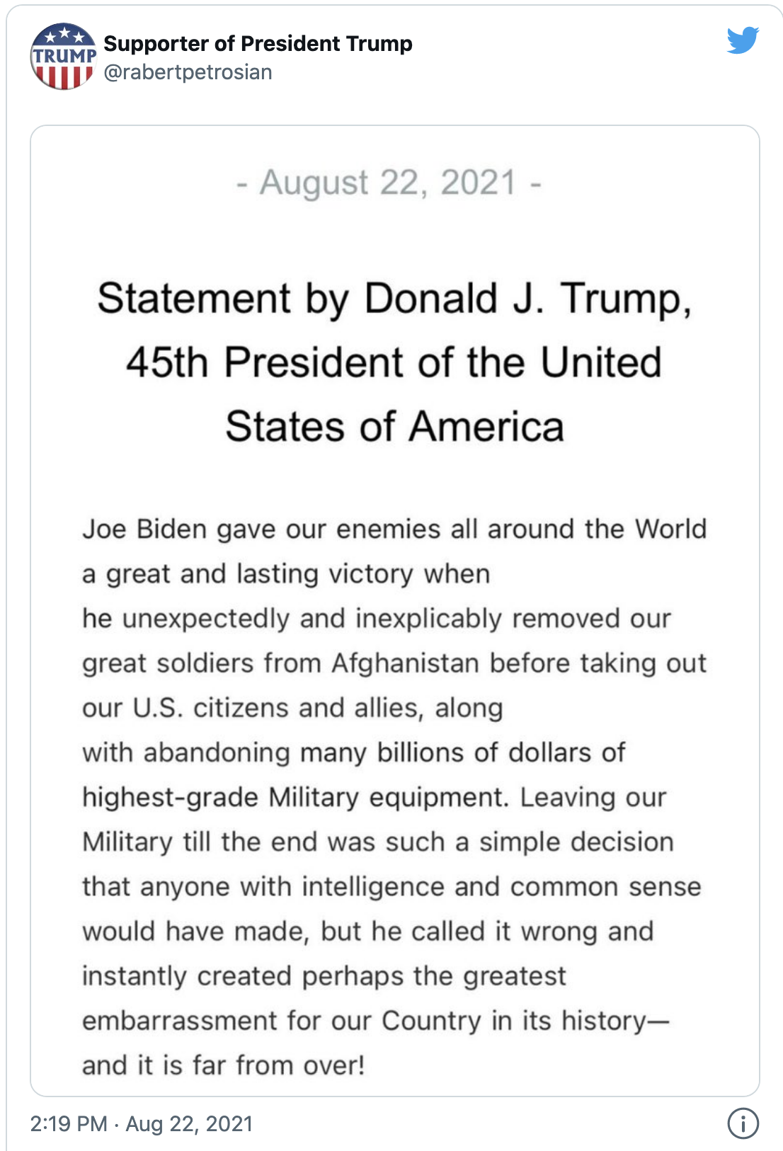 Screen-Shot-2021-08-24-at-1.16.47-PM Trump Claims Biden Is Flying Terrorists To US From Afghanistan Corruption Donald Trump Military Politics Top Stories
