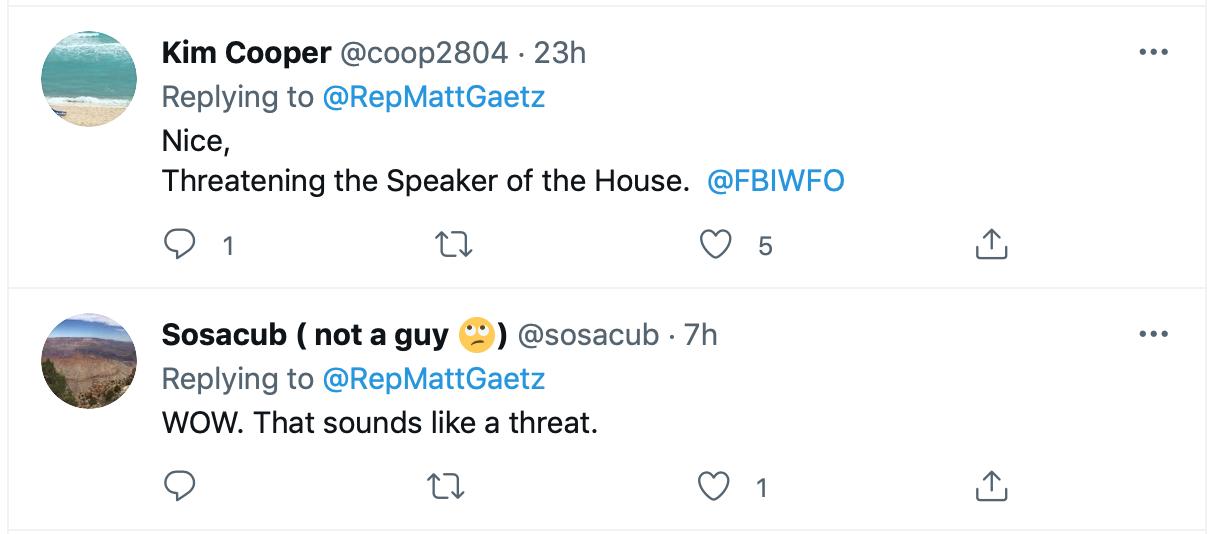 Screen-Shot-2021-09-01-at-5.58.44-PM Matt Gaetz Threatens Revenge Subpoena Of Nancy Pelosi Phone Records Crime Donald Trump Featured Politics Top Stories Twitter Videos