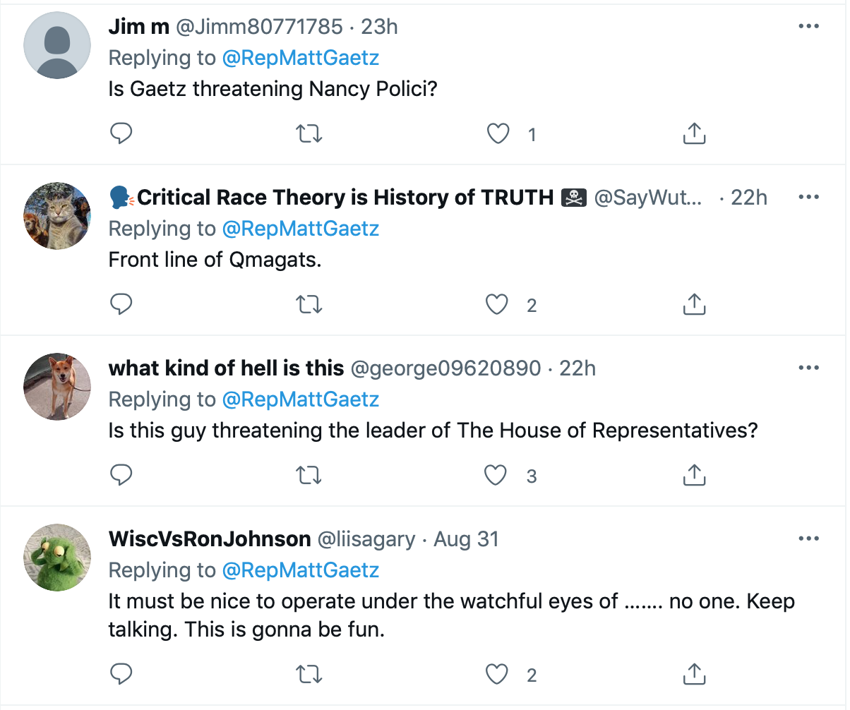 Screen-Shot-2021-09-01-at-5.59.11-PM Matt Gaetz Threatens Revenge Subpoena Of Nancy Pelosi Phone Records Crime Donald Trump Featured Politics Top Stories Twitter Videos