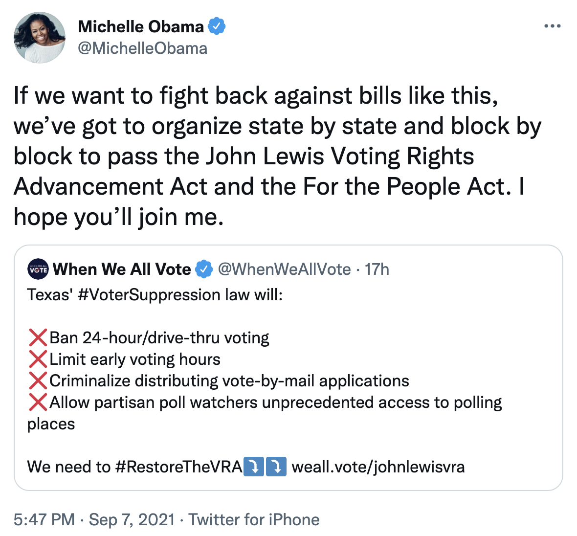Screen-Shot-2021-09-08-at-9.27.07-AM Michelle Obama Rallies Voters To Fight GOP Voter Suppression Corruption Crime Featured Politics Top Stories