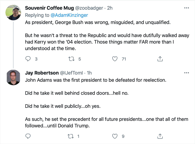 Screen-Shot-2021-09-11-at-1.46.01-PM Kinzinger Amplifies George Bush Comparison Of 9/11 To Insurrection Donald Trump Featured Investigation Politics Terrorism Twitter