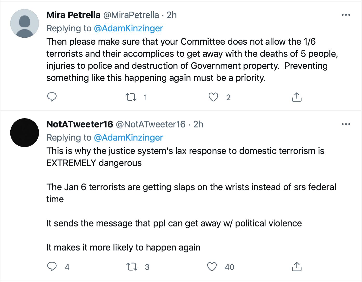 Screen-Shot-2021-09-11-at-1.46.17-PM Kinzinger Amplifies George Bush Comparison Of 9/11 To Insurrection Donald Trump Featured Investigation Politics Terrorism Twitter
