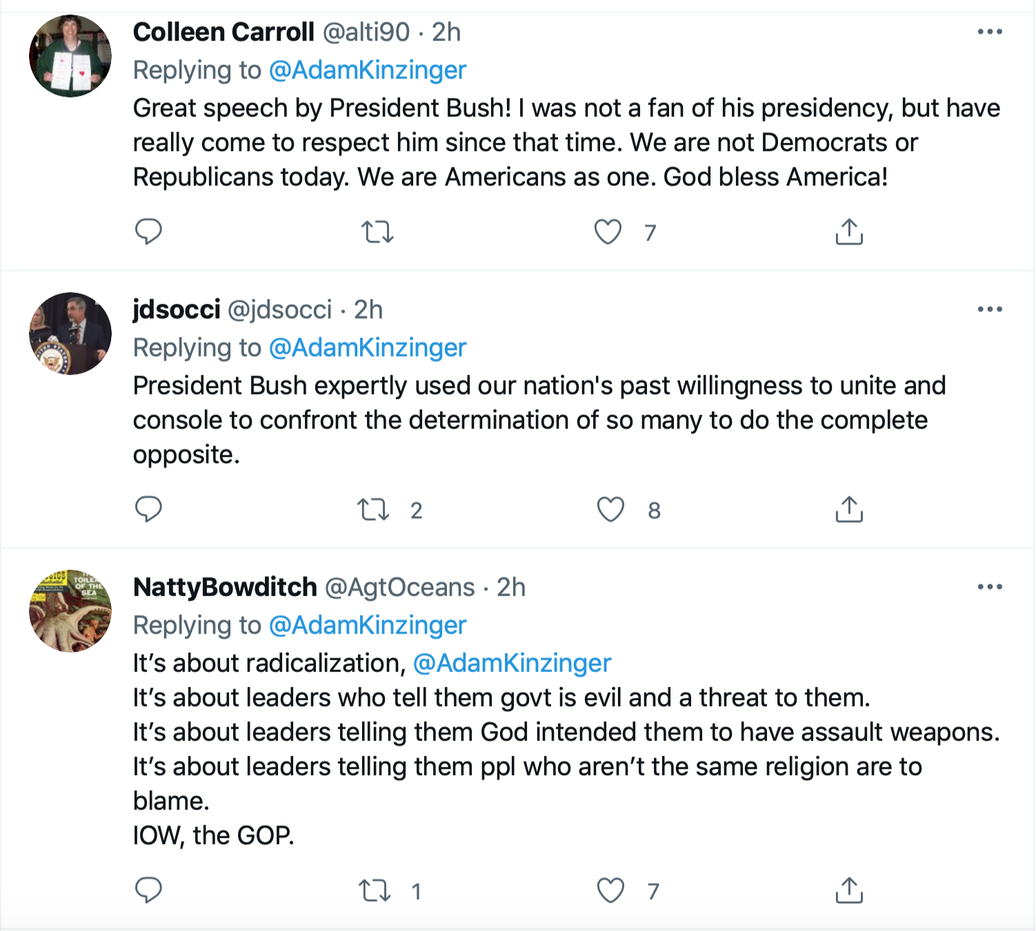 Screen-Shot-2021-09-11-at-1.47.34-PM Kinzinger Amplifies George Bush Comparison Of 9/11 To Insurrection Donald Trump Featured Investigation Politics Terrorism Twitter