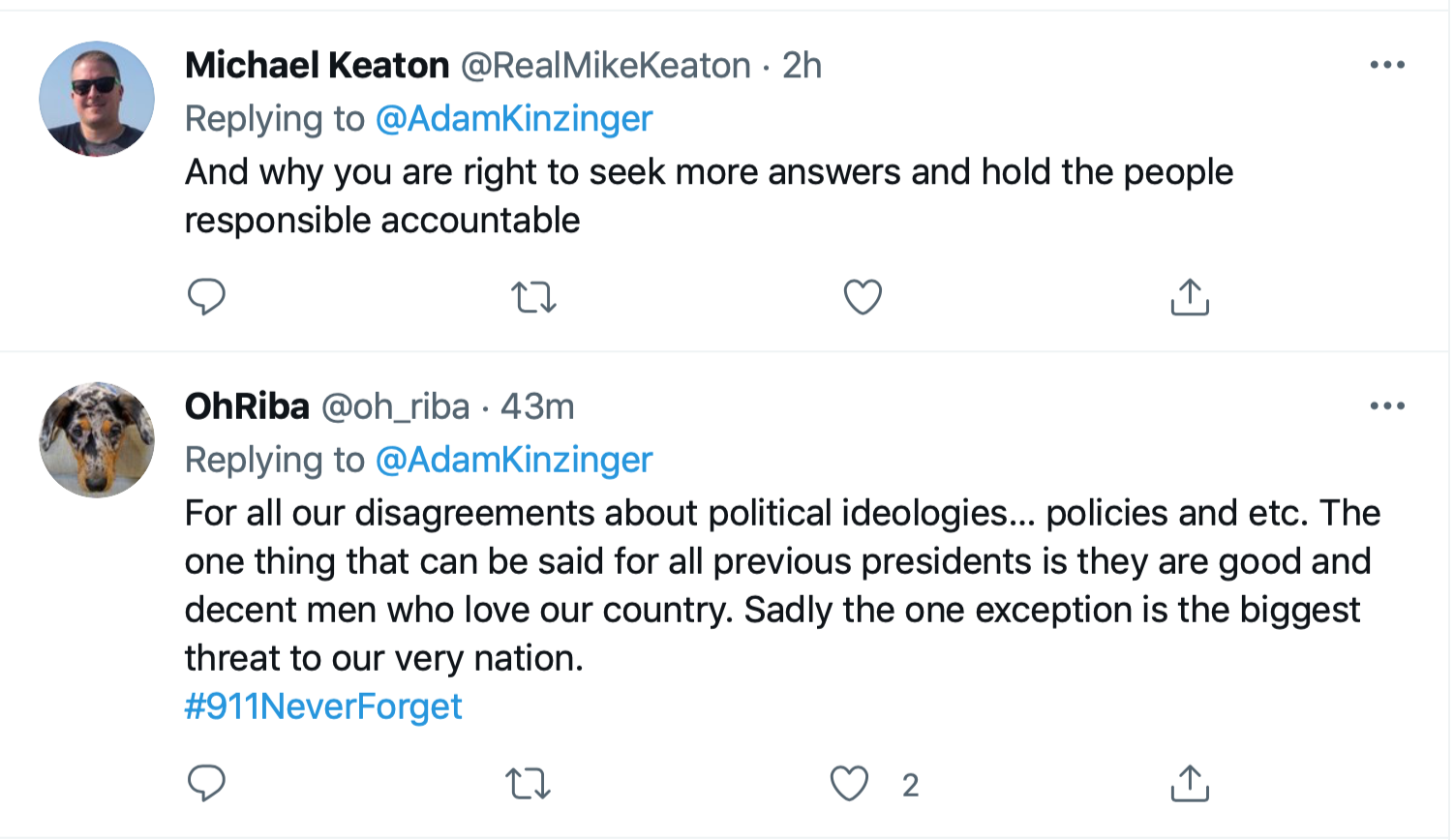Screen-Shot-2021-09-11-at-1.48.07-PM Kinzinger Amplifies George Bush Comparison Of 9/11 To Insurrection Donald Trump Featured Investigation Politics Terrorism Twitter