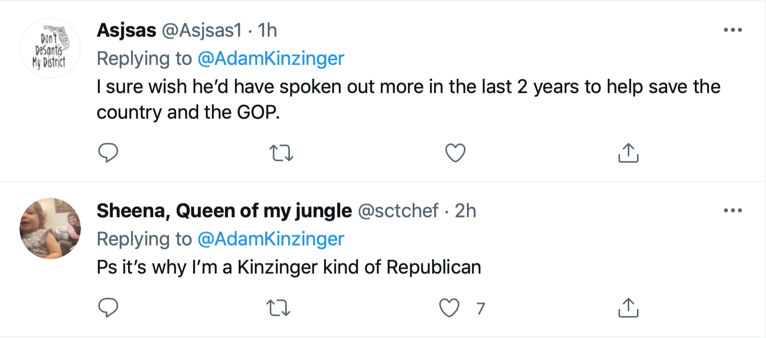 Screen-Shot-2021-09-11-at-1.48.25-PM Kinzinger Amplifies George Bush Comparison Of 9/11 To Insurrection Donald Trump Featured Investigation Politics Terrorism Twitter