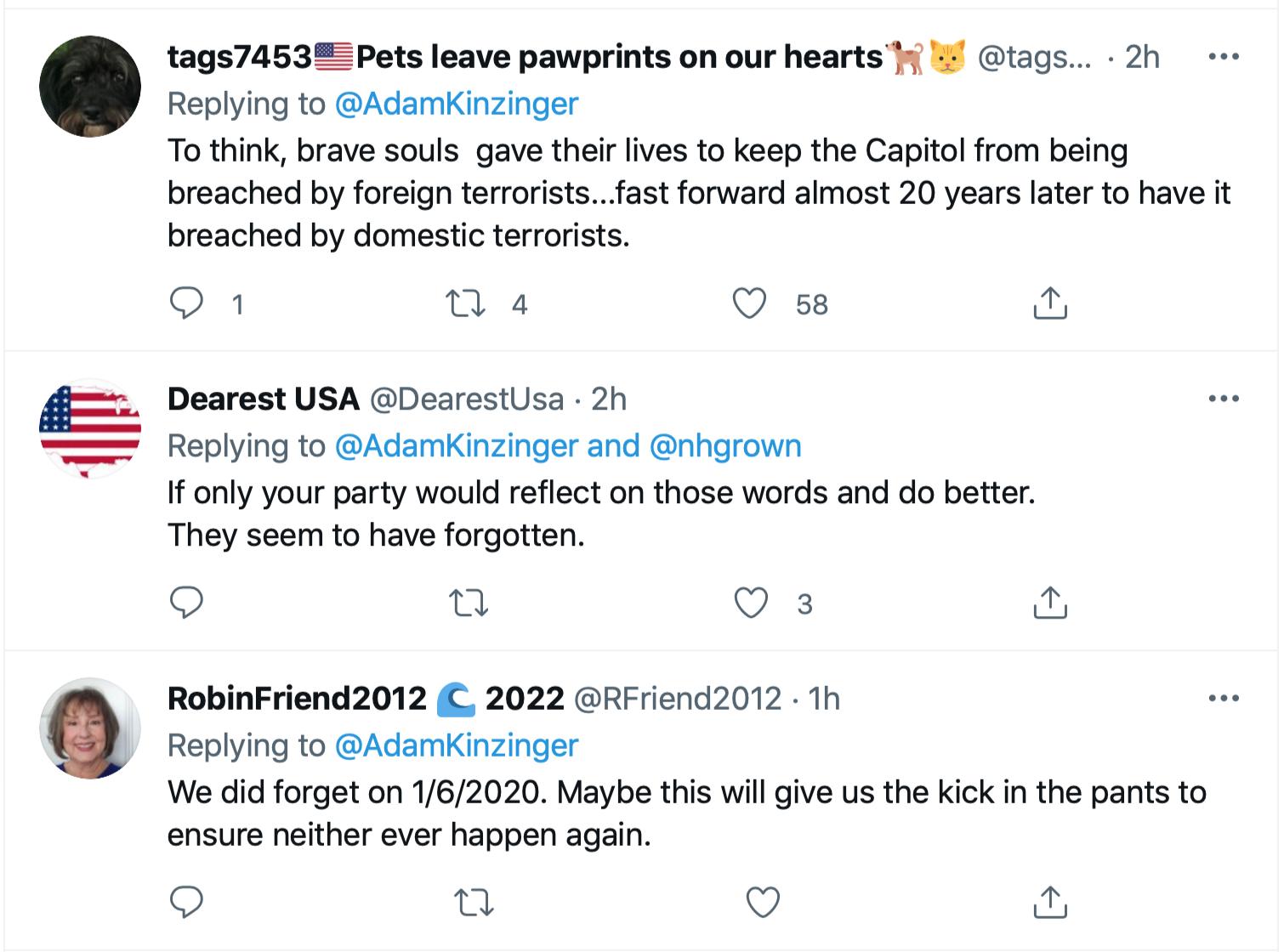 Screen-Shot-2021-09-11-at-1.49.08-PM Kinzinger Amplifies George Bush Comparison Of 9/11 To Insurrection Donald Trump Featured Investigation Politics Terrorism Twitter